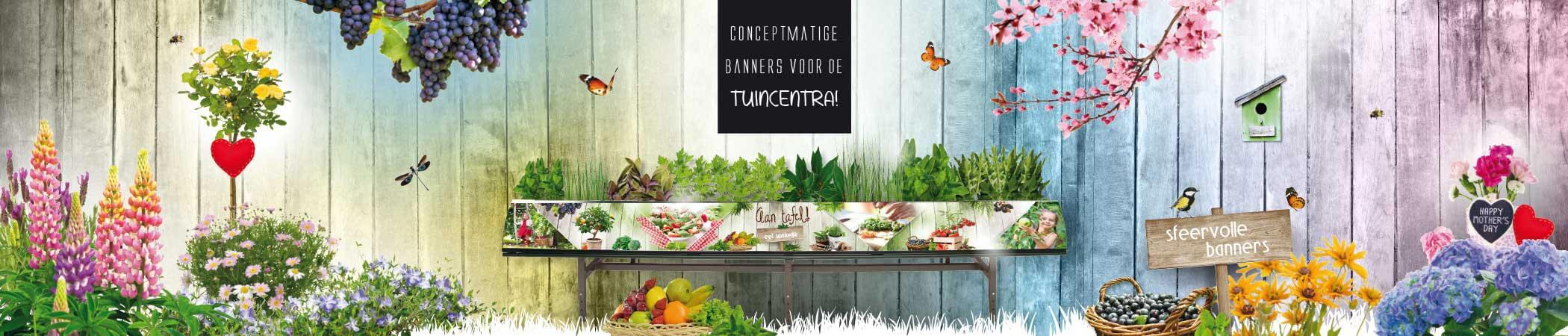 Conceptmatige banners voor dr tuincentra